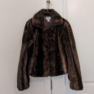 Ann Taylor Loft Faux Fur Coat Jacket Brown